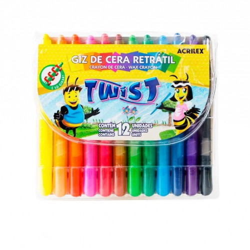 GIZ DE CERA TWIST RETRATIL C/12 CORES